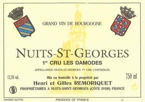 NUIT ST GEORGES ROUGE 1 CRU LES DAMODES